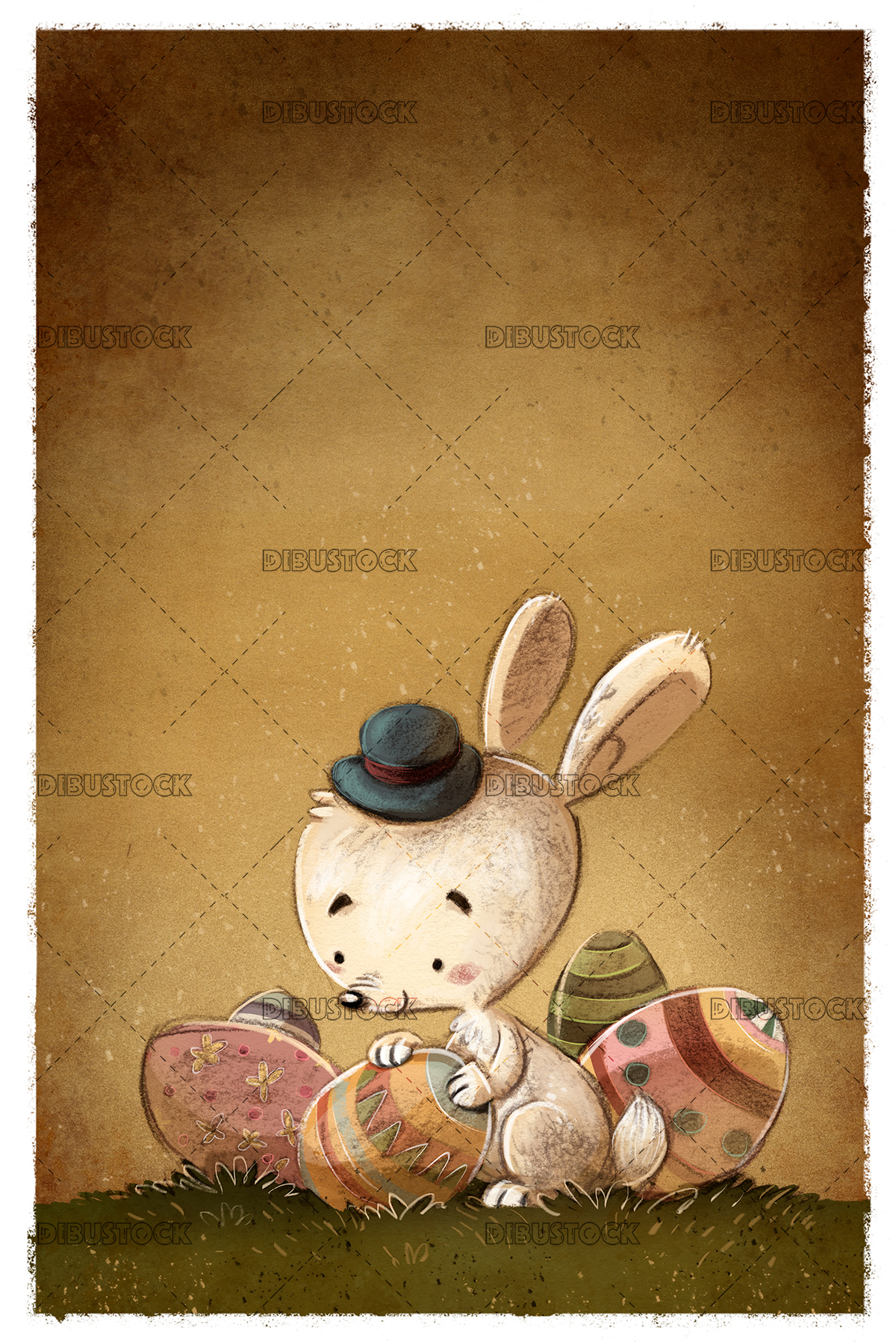 easter rabbit with eggs texture background