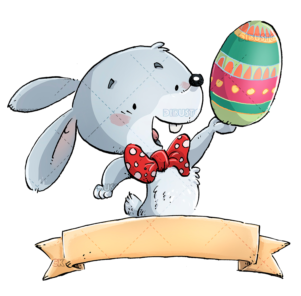 easter rabbit with label