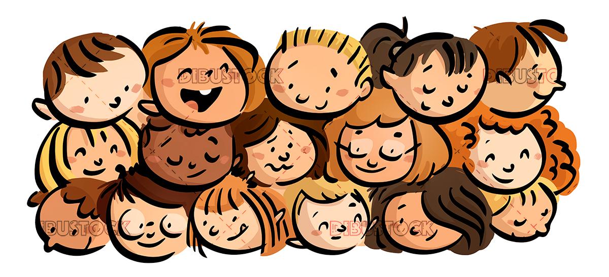 faces of happy children color