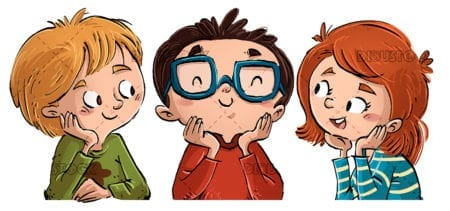 faces of happy children copia