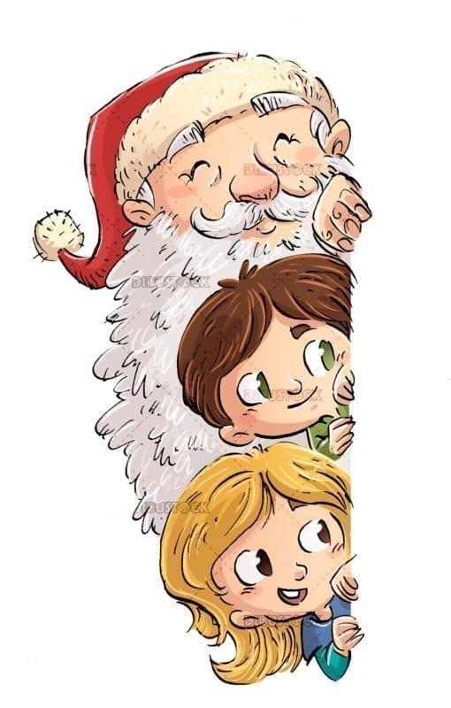 faces of santa claus and children