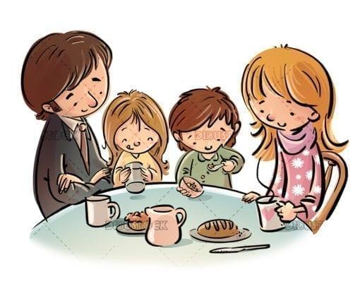 family having breakfast at the table