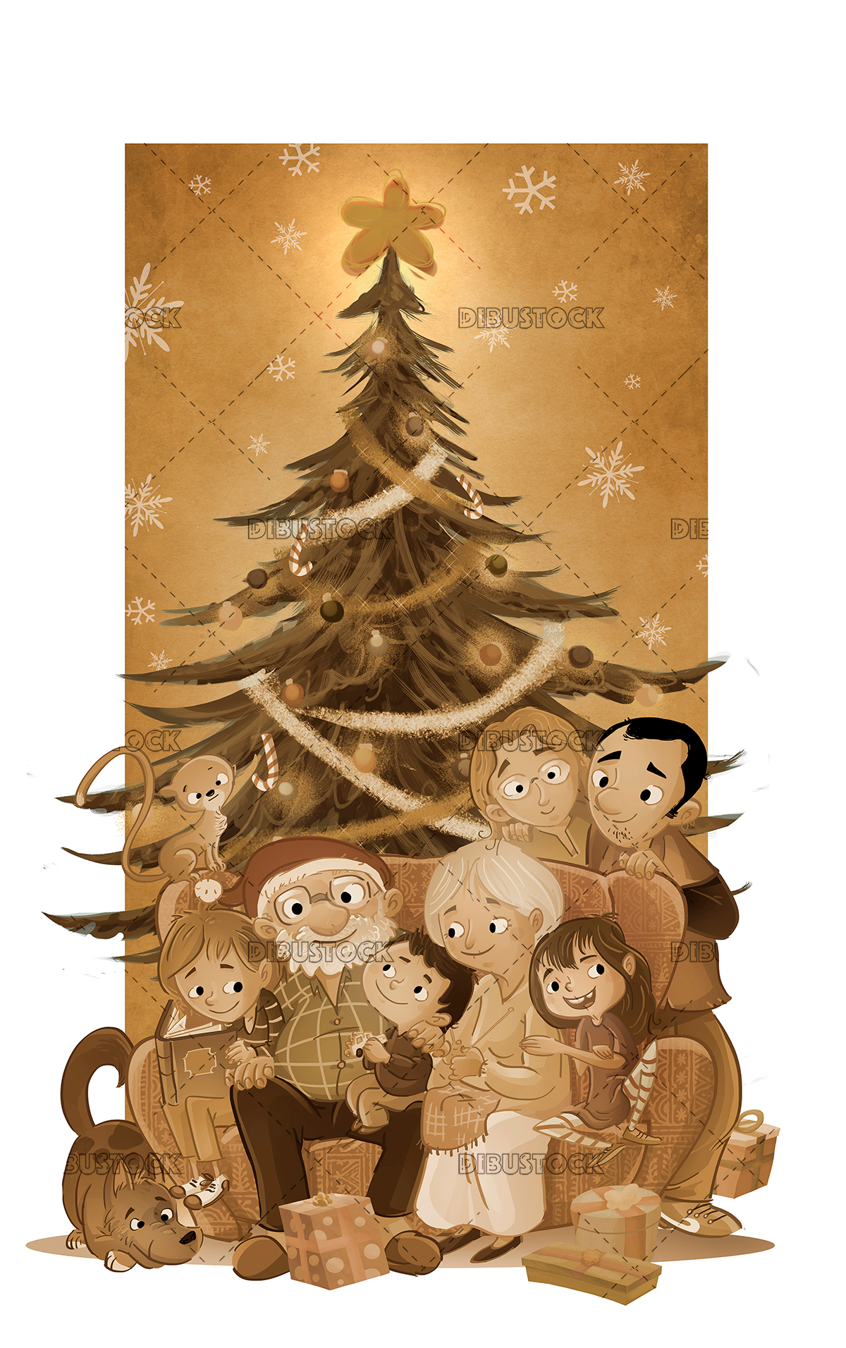 family in christmas in sepia
