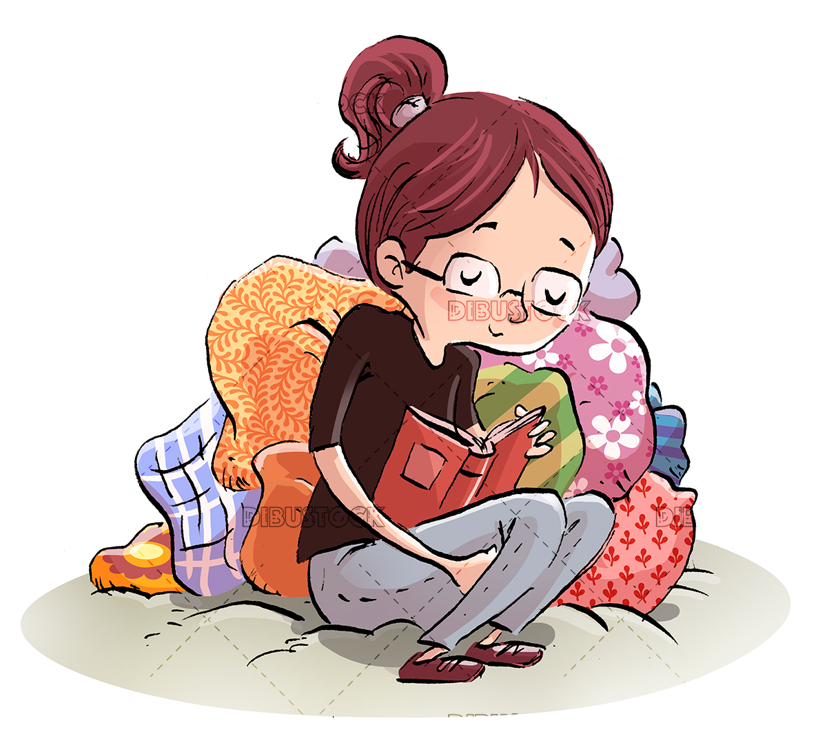 girl reading a book between cushions