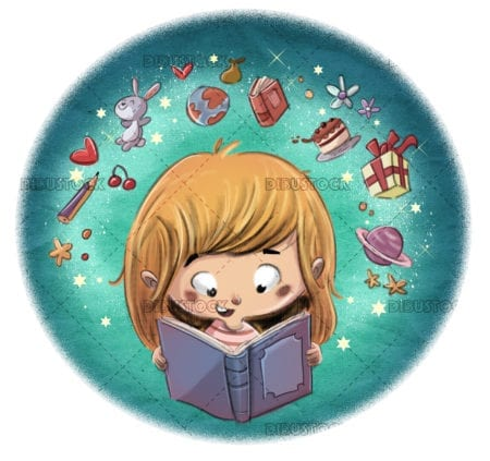 girl reading a book in a circle
