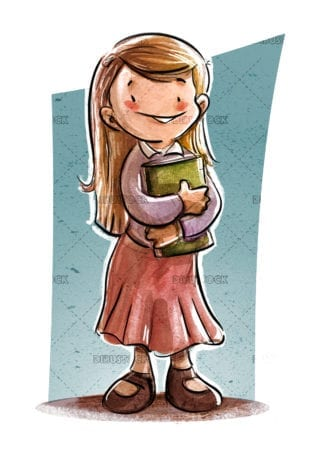 girl with book in arms