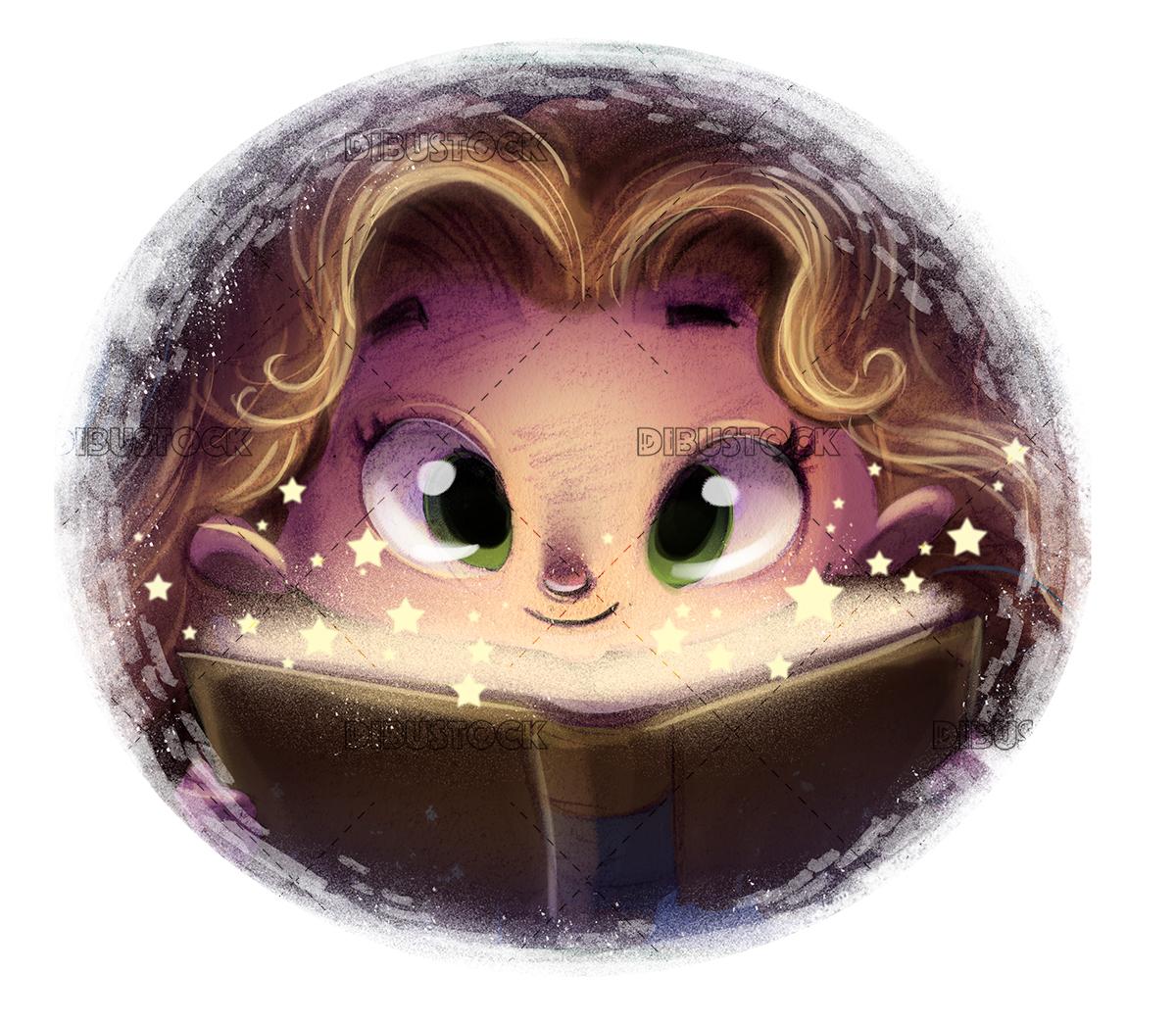 girl with magic book