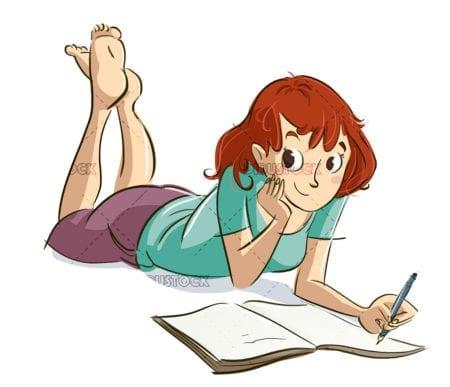 girl writing in a diary copia