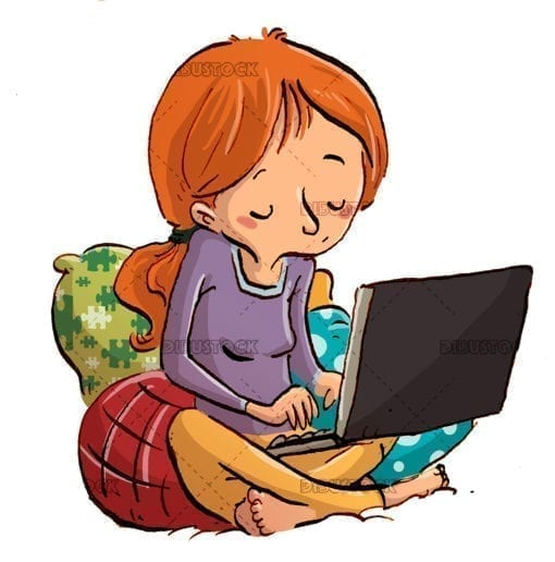 girl with laptop writing