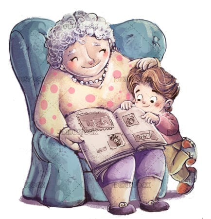grandmother with her grandson in armchair