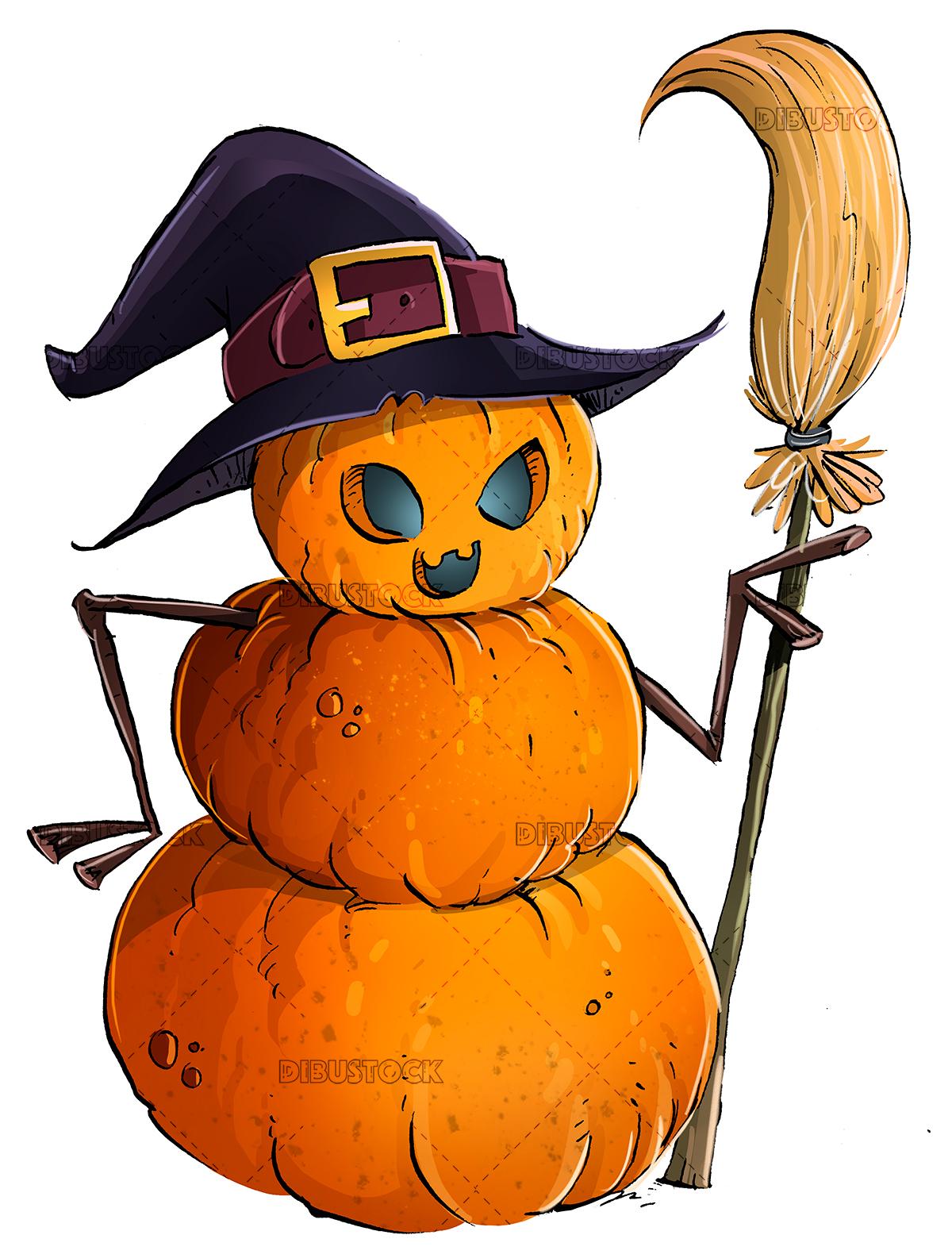 halloween pumpkin with hat and broom
