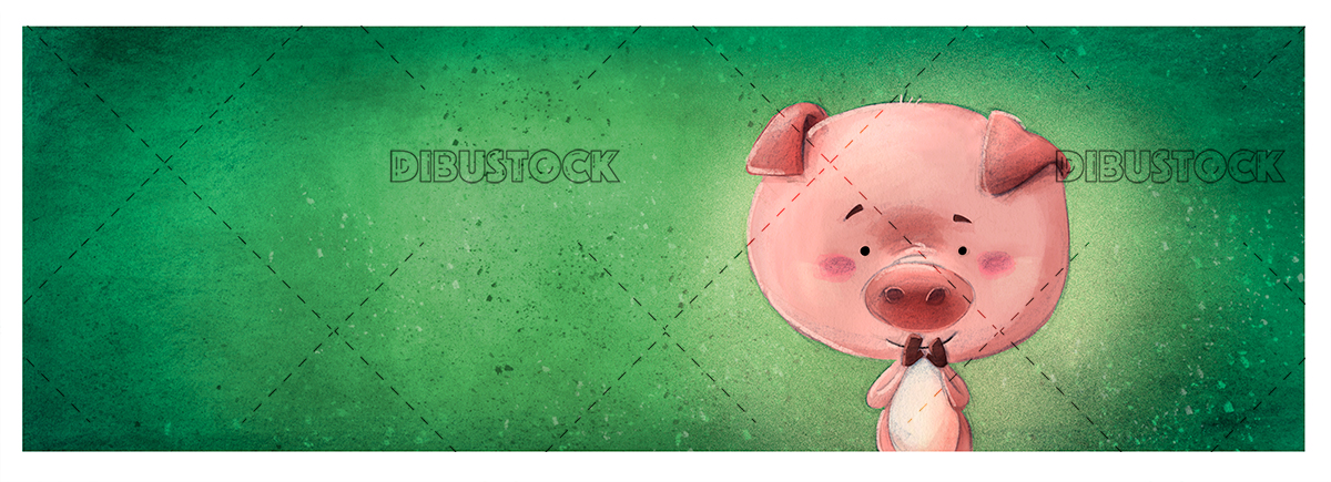happy pig with background