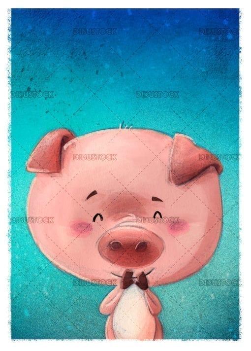 happy pink pig