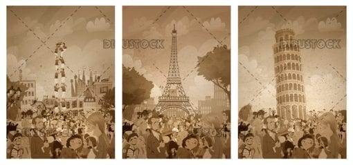 illustration of europe cities in sepia