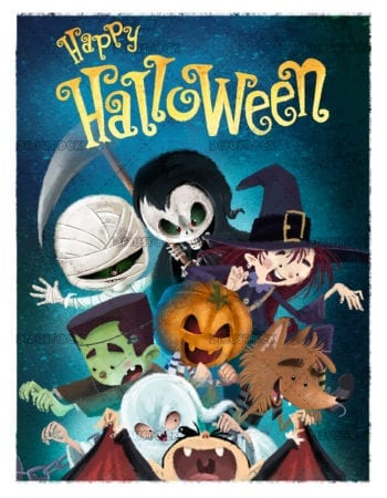 kids halloween monsters with text