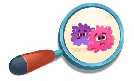 magnifying glass with bacteria