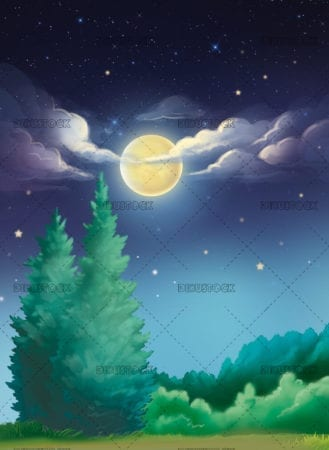 night field with moon background