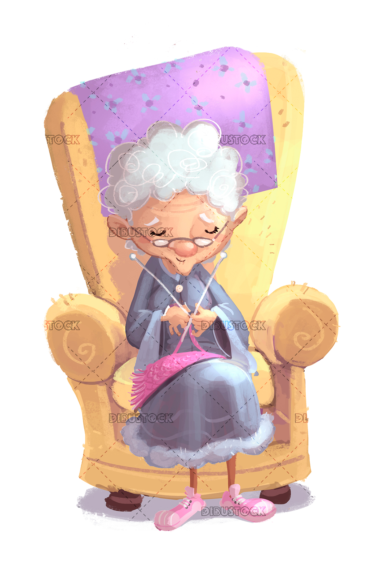 old woman sewing
