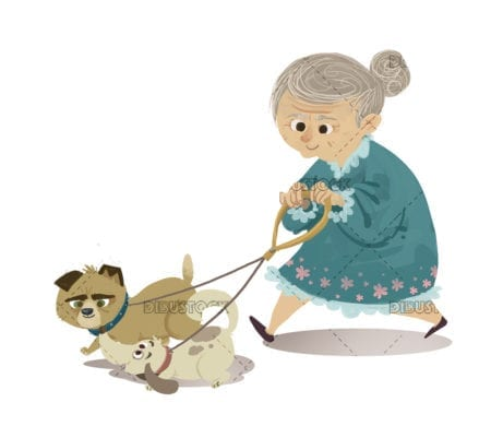old woman walking dogs