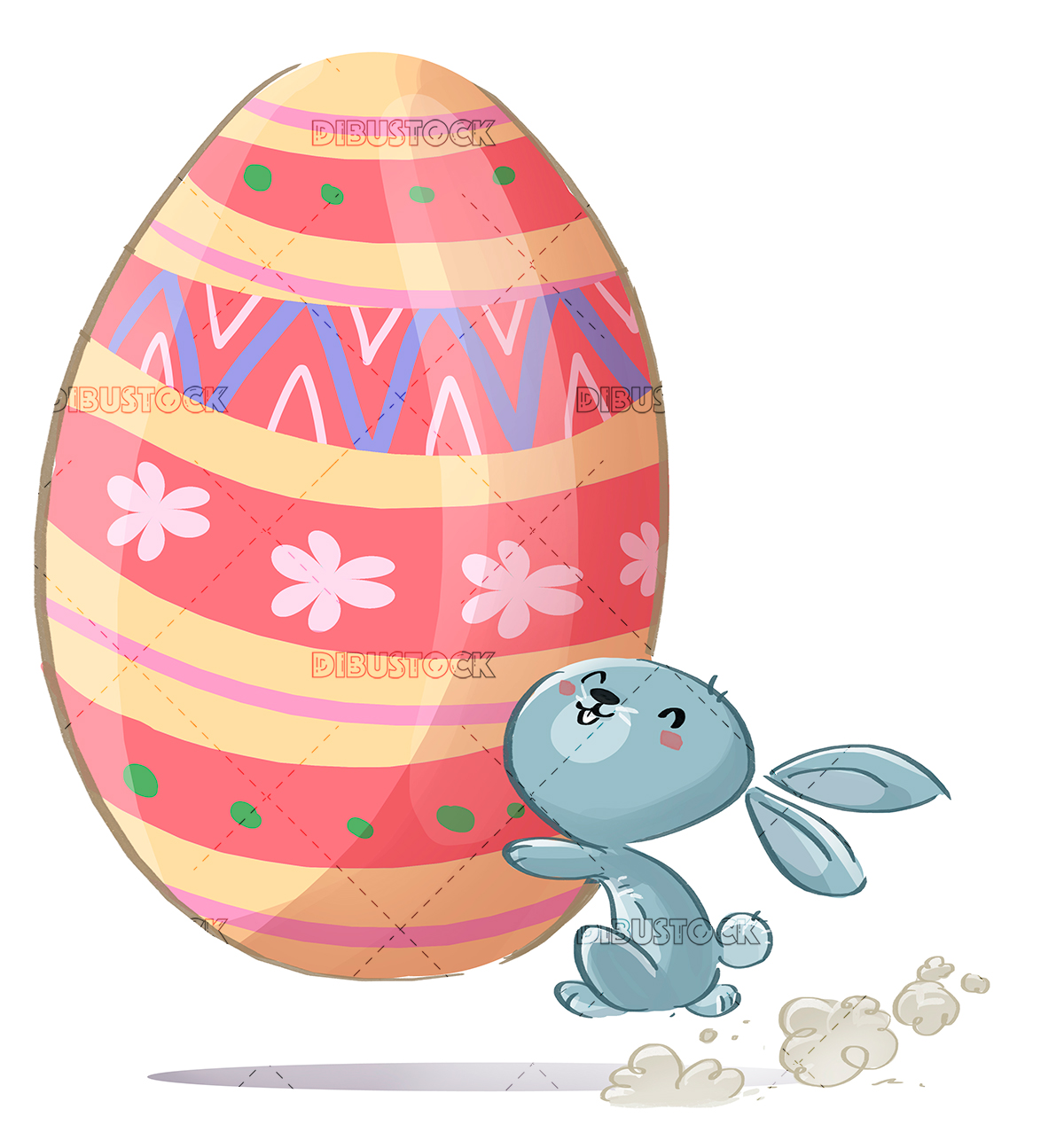 rabbit with giant easter egg