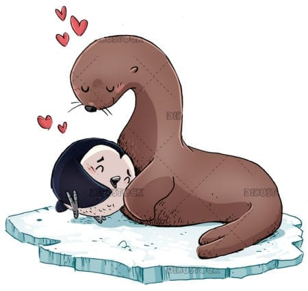 seal and penguin in love