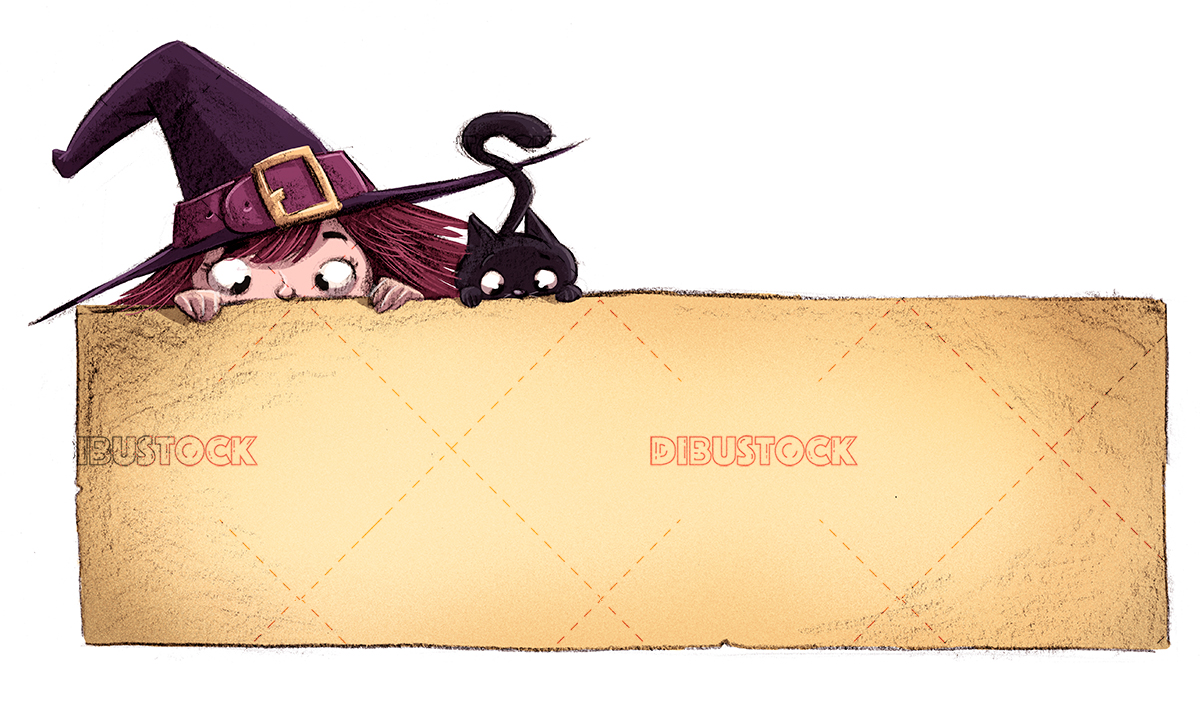 witch and cat with poster
