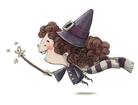 witch flying with wand