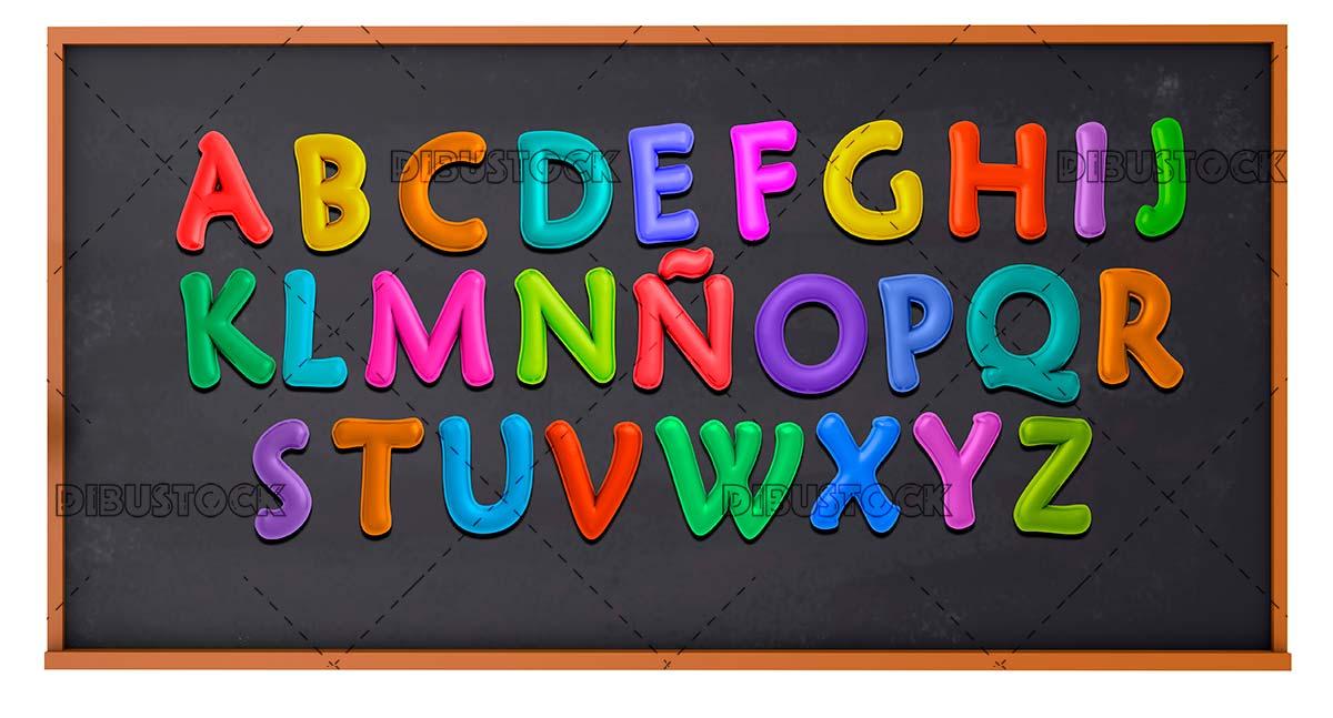 Alphabet on a blackboard 3d