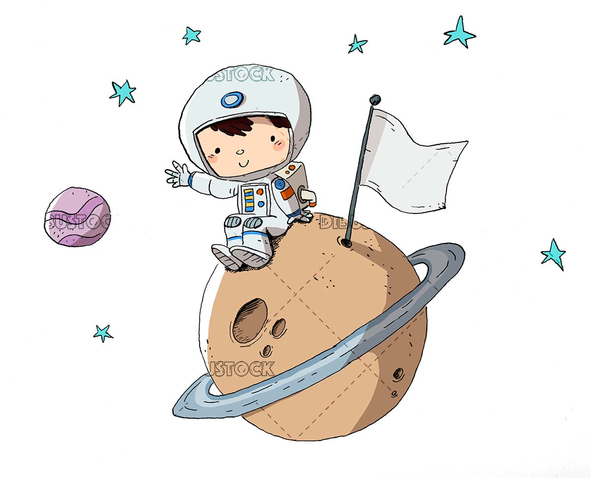 Astronaut boy in space sitting on a planet
