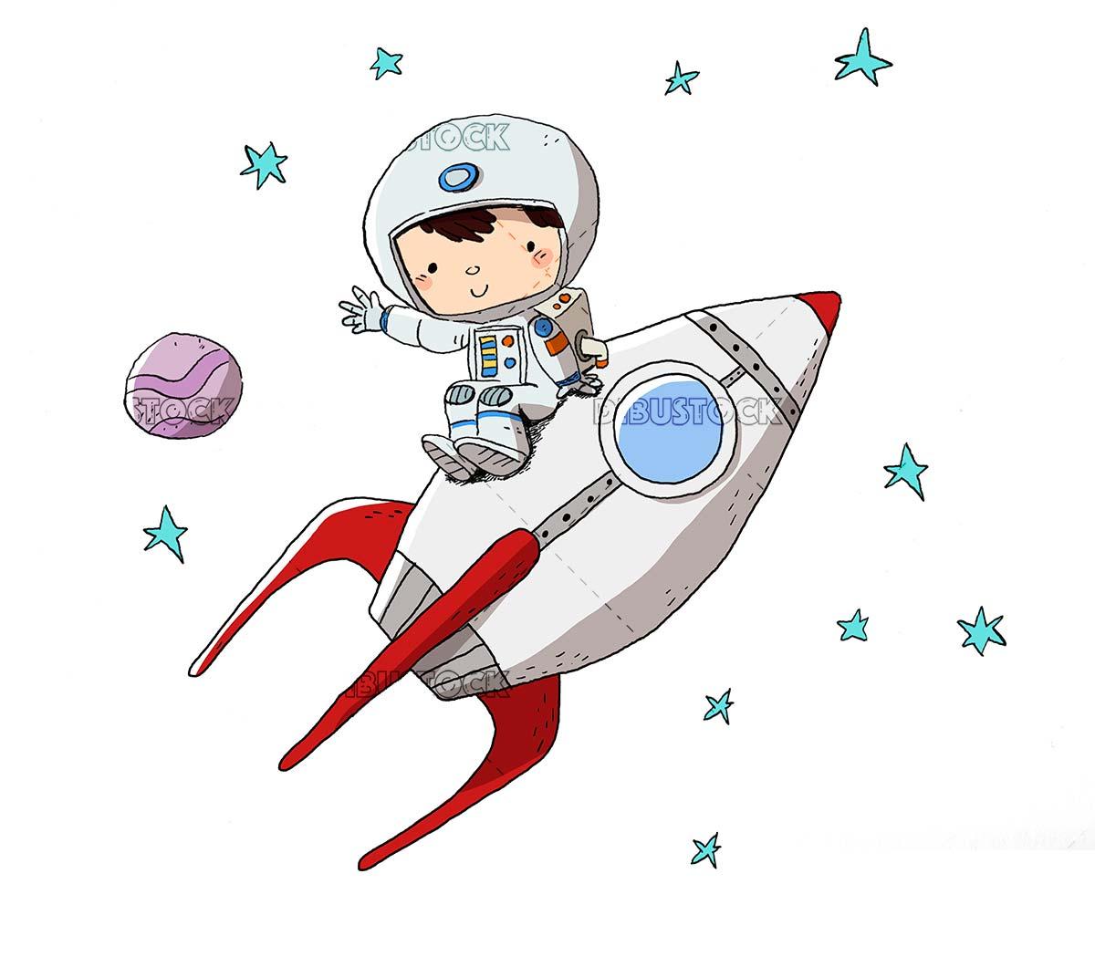 Astronaut in a rocket. Sitting on a rocket
