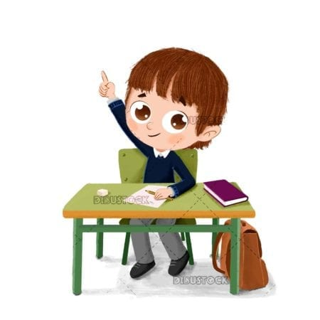 Boy at school sitting at his table