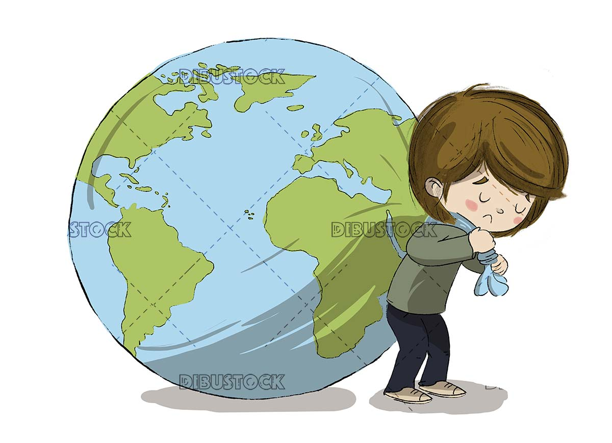 Boy carrying planet earth