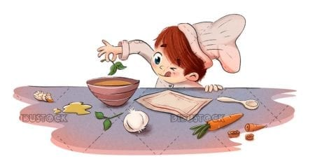 Boy cooking with ingredients in the kitchen