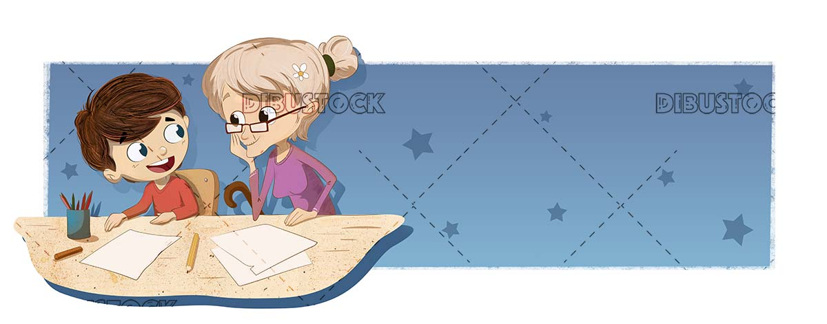 Boy doing homework with his grandmother