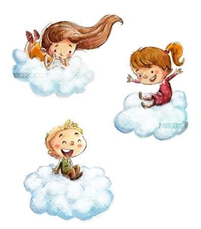 Boy flying in clouds