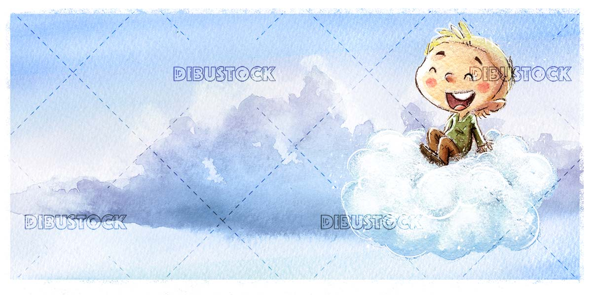 Boy flying with cloud