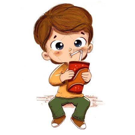 Boy having a soda sitting with white background