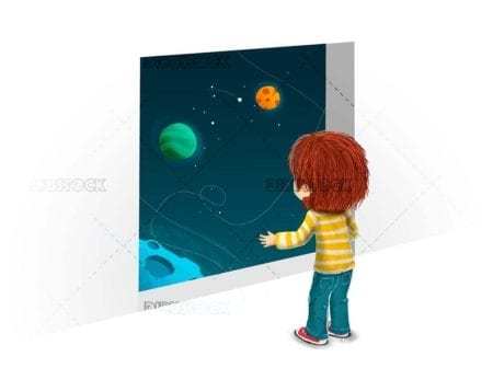 Boy looking to outer space concept