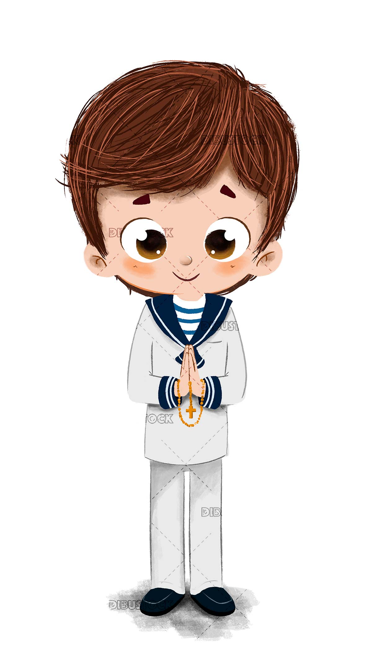 Boy making communion dressed as a sailor