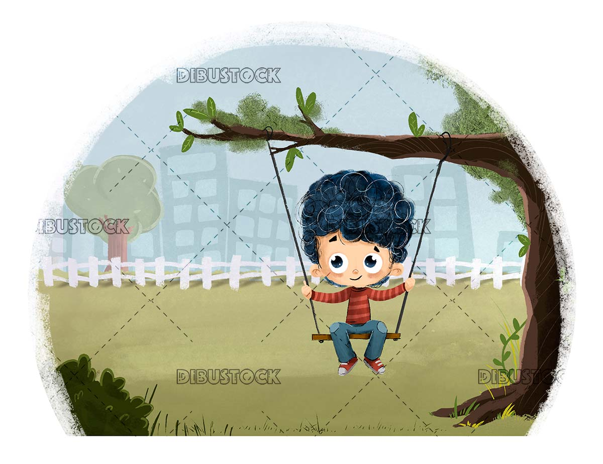 Boy on a swing playing in the park