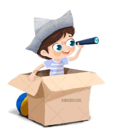 Boy playing pirates or sailors with a box