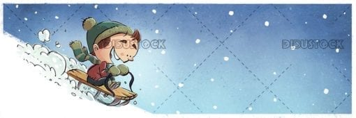 Boy playing with sled in the snow