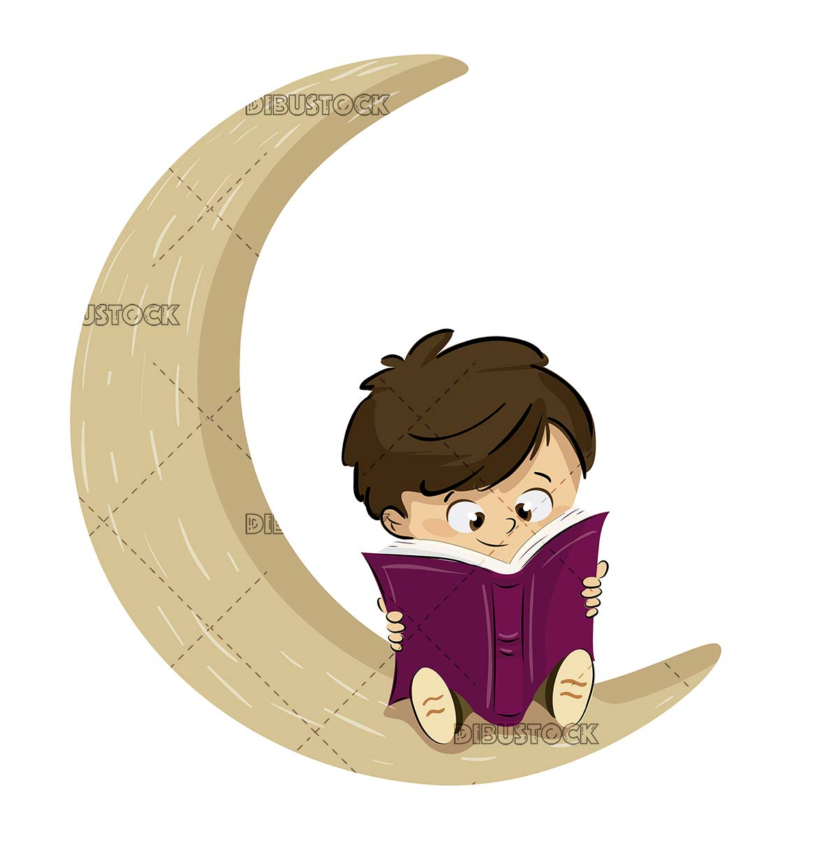 Boy reading a book on the moon