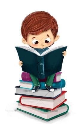 Boy reading a book sitting 1