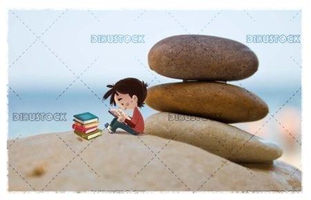 Boy reading a book sitting