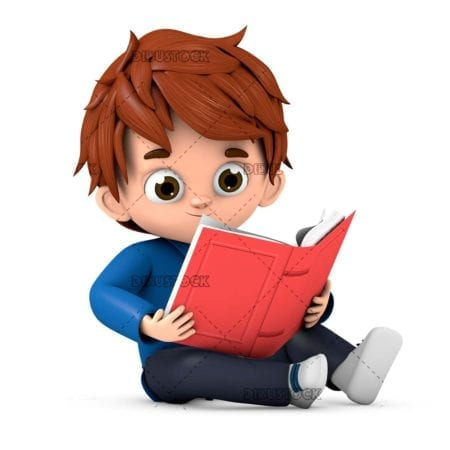 Boy reading a book sitting on the floor