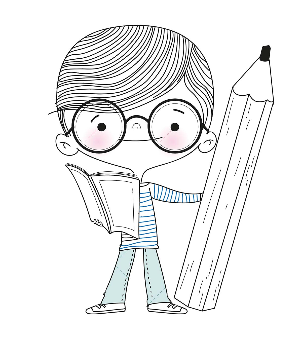Boy reading a book with a pencil in his hand