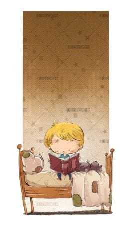 Boy reading in bed with background