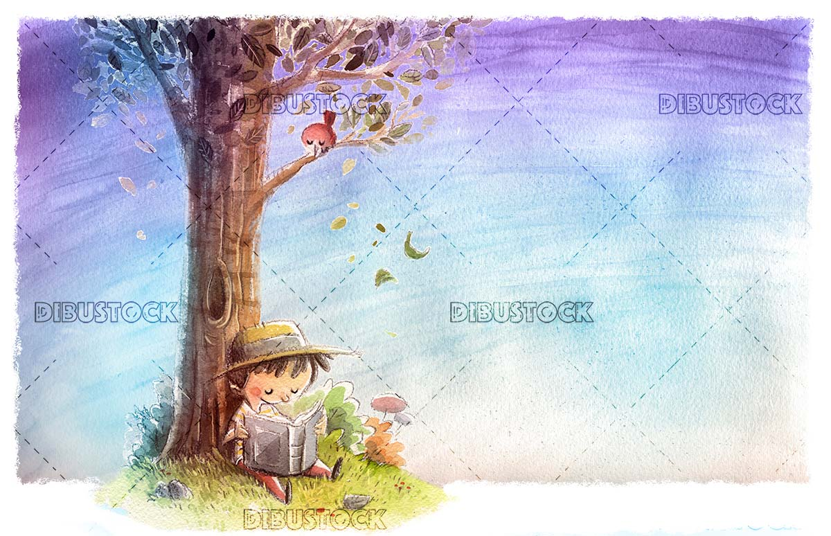 Boy reading under a tree with background