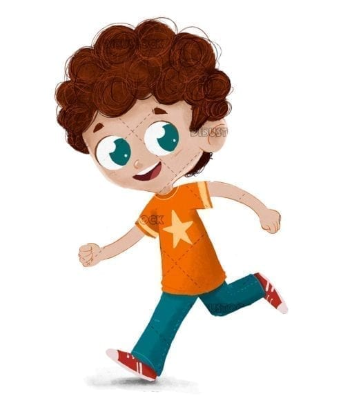 Boy running playing happy